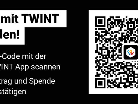 Einfach spenden: neu mit TWINT