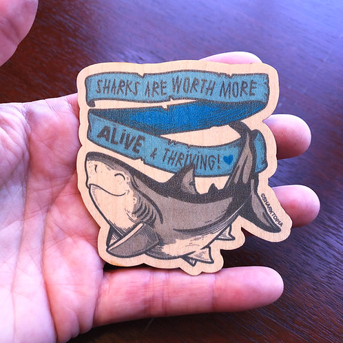 Eco Wood Sticker ('Worth More Alive')