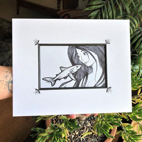 "Original Illustration w/  mat - ""Hello little Shark"""