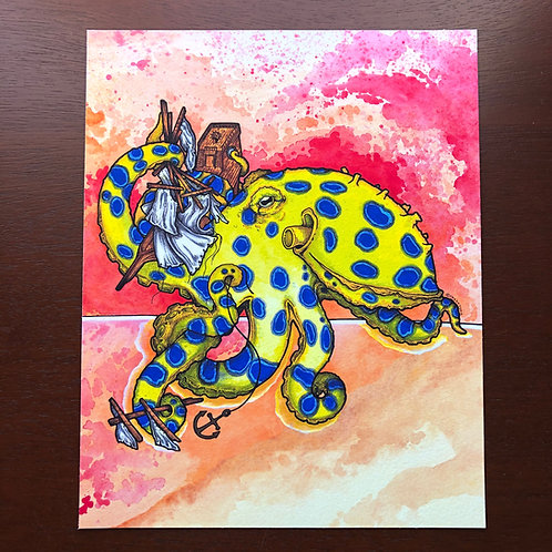 8x10 Print - Blue Ringed Octopus with ship