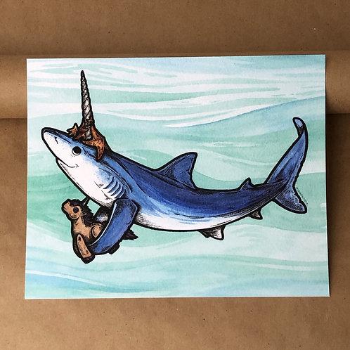 8x10 Print - Blue Unishark with Starfish & Unicorn