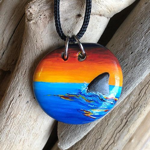 Handpainted Pendant - Shark fin sunset (oval)