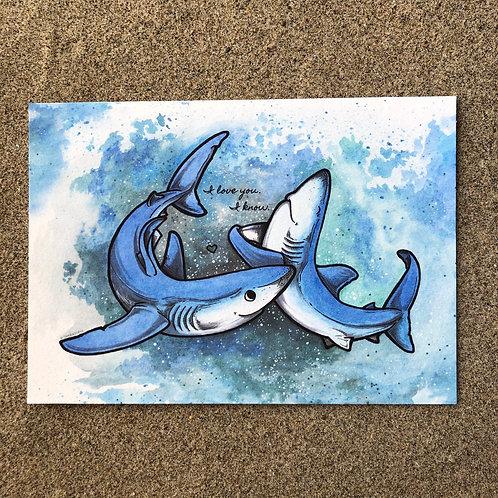 5x7 Print - Blue Sharks (I love you / I know)
