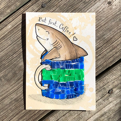 Original 5x7 Coffee Painting for a Cause! (Shark2)