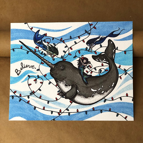 Print - Holiday Narwhal w/ Mermaids