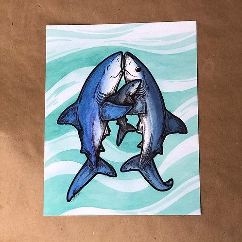 Print - Shark Family