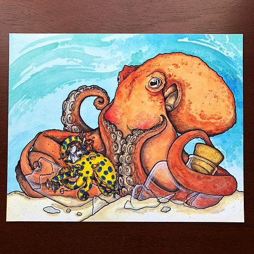 8x10 Print - Octopus Shenanigans
