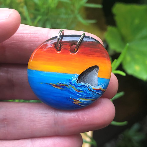 Hand-painted pendant - Swim with the Sunset