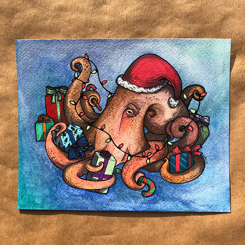 Original Watercolor Painting - Gift Giving Octopus