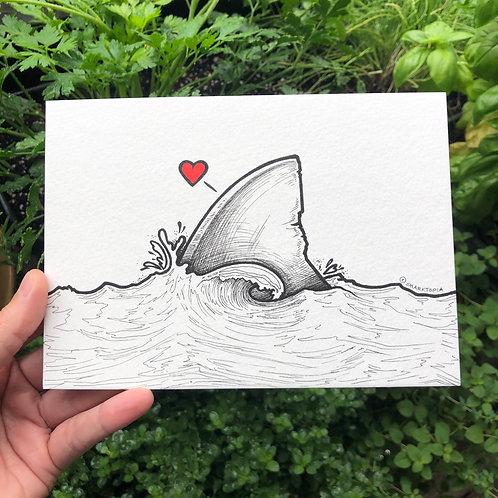 (5x7) Original Illustration - Shark-fin Heart (v1)