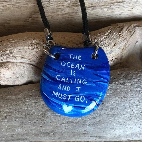 Handpainted Pendant - Ocean is Calling 3