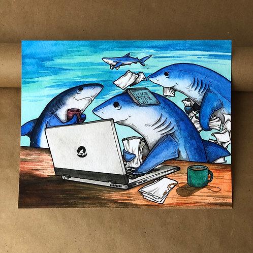 8x10 Print - Blue Shark Work/Study Group