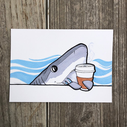 "5""x7"" Print - Coffee Shark"