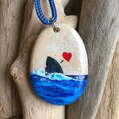 Handpainted Pendant - Shark fin heart (larger)