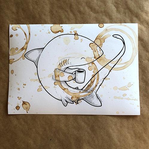 Original Coffee Illustration - Happy Thresher