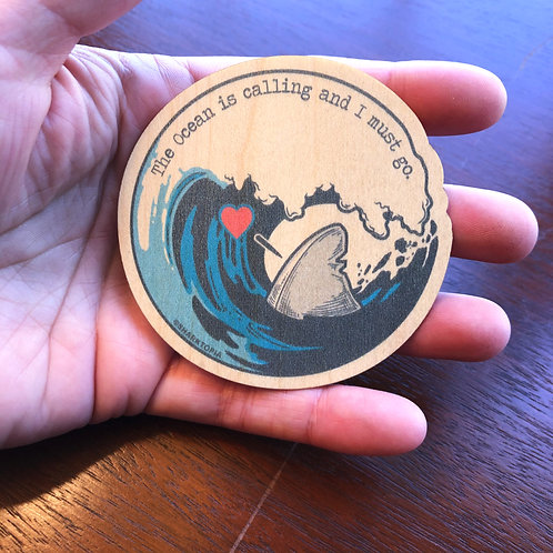 Eco Wood Sticker ('The Ocean is Calling')