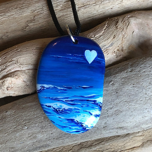 Handpainted Pendant - Ocean is Calling 4
