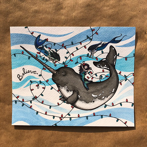 Original Painting - Narwhal with Mermaids