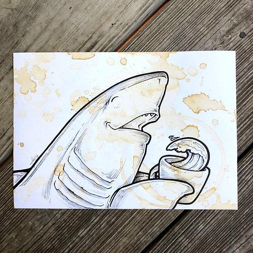 Original Coffee Painting - Shark Wave