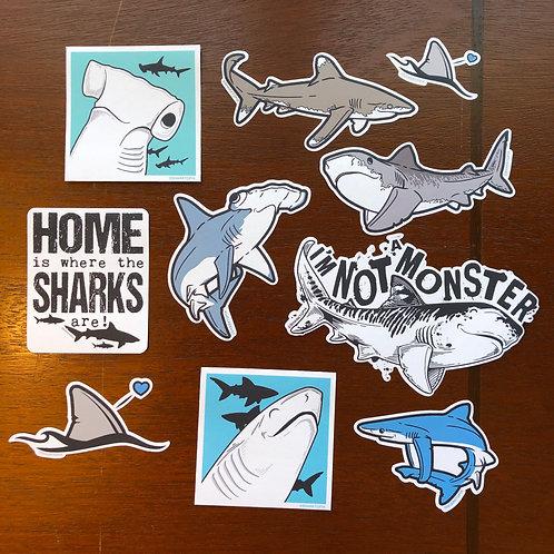 10 Eco Paper Stickers (Shark set)