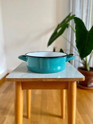 Turquoise enamel retro bowl