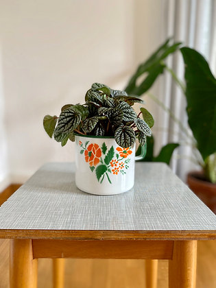 Flowery enamel retro pot