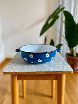 Blue enamel retro bowl