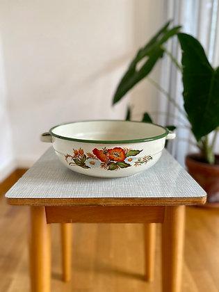 Flowery enamel retro bowl