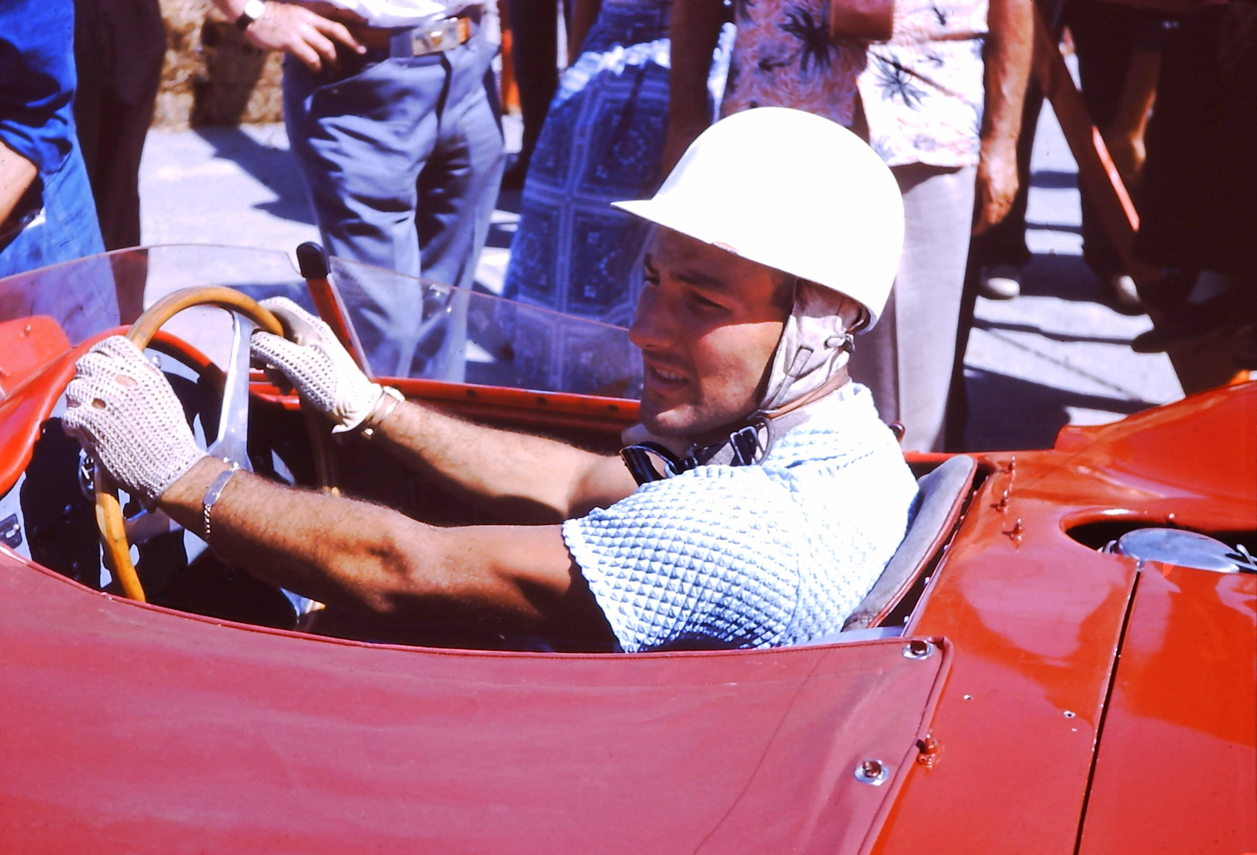 1957 Sebring - Stirling Moss in Nassau polo in his Maserati 300S (c) GBussian