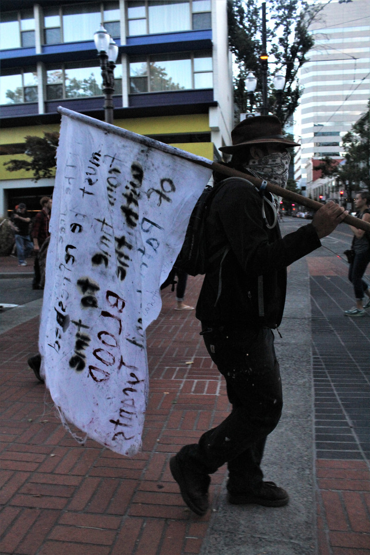 Protester with Flag