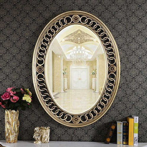 Silver Boucle Oval Mirror