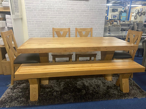 Enzo Dining Table (6ft 3) +4 Chairs + 1 Bench