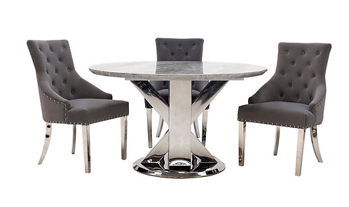 Tremmen 1.3m Round Dining Table plus 4 Lion Back Chairs