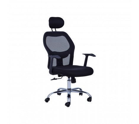 Black Home Office Chair With Black Arms And 5-Wheeler Base