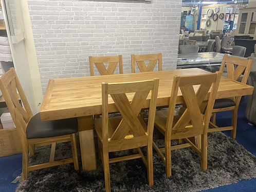 Enzo 6ft 3 Dining Table plus 6 Moonwalk Chairs
