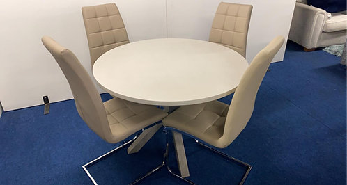 Docklands Round Dining Table plus 4 Cream Moreno Chairs