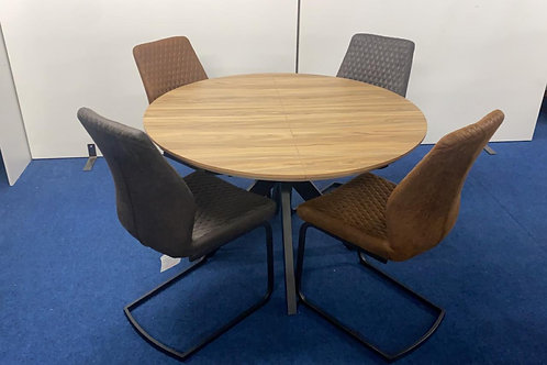 Manhattan Extending Round Table 1.2m - 1.6m plus 4 Charlie Dining Chairs
