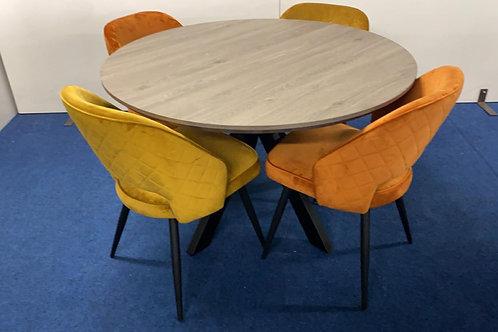 Manhattan Round Table 1.2m plus 4 Sutton Dining chairs