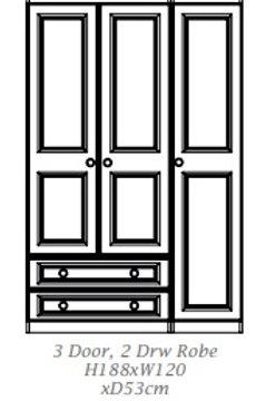 Doonbeg by Troscan 3 Door 2 Drawer Robe