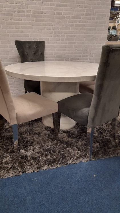 Carra Round Dining Table  plus 4 Pembroke Chairs