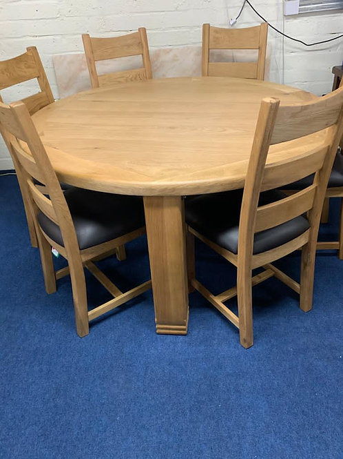 Danube 156cm Round Dining Table plus 6 Chairs