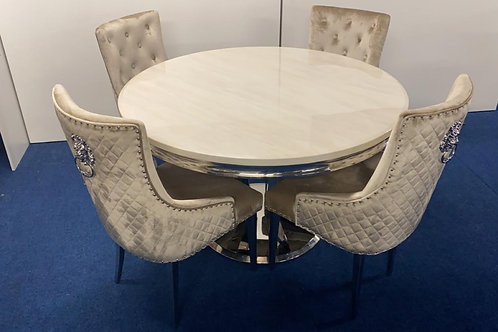 Arturo Round Dining Table plus 4 Pear Lions Head Dining Chairs