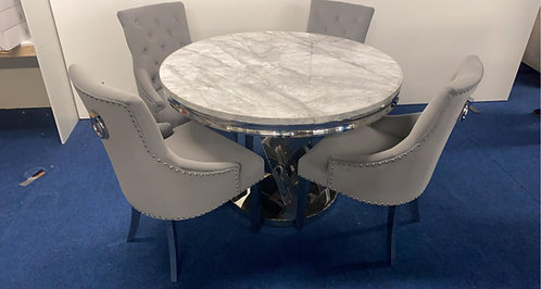 Sylvia Round Dining Table + 4 Estela Dining Chairs