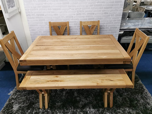 Arpege 5ft dining table and 4 Moonwalk Chairs and Arpege bench