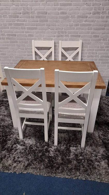 Ancona White Table plus 4 Chairs