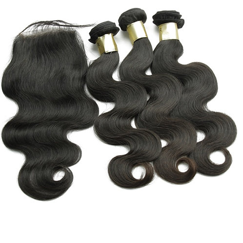 BRAZILIAN VIRGIN HAIR EXTENSIONS BUNDLE DEALS WITH 20'CLOSURE(BODYWAVE)22'24'24'