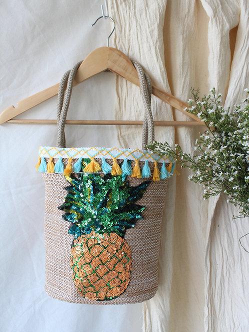 Pineapple Hand Made Tassel Straw Bucket Bag