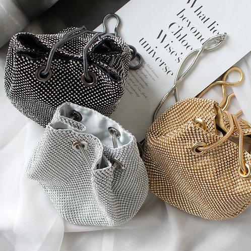 Rhinestone Metal Mesh Bucket Bag