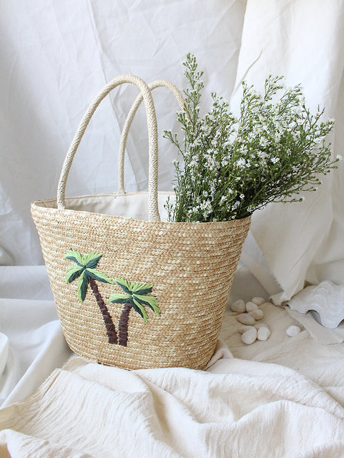 Palm Trees Hand Made Straw Tote Bag