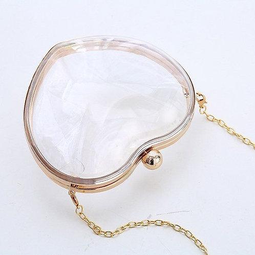 Transparent Cross Body Gold Chain Heart Bag